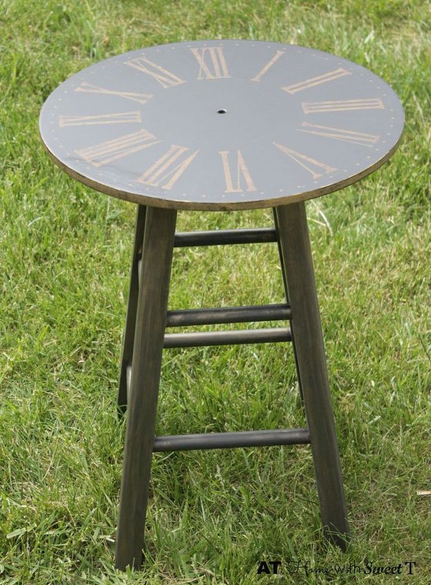 clock side table, painted furniture, repurposing upcycling