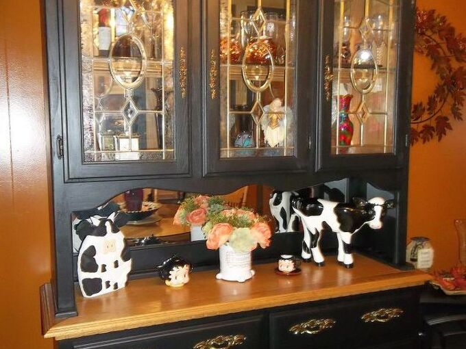 hutch painted black, painted furniture