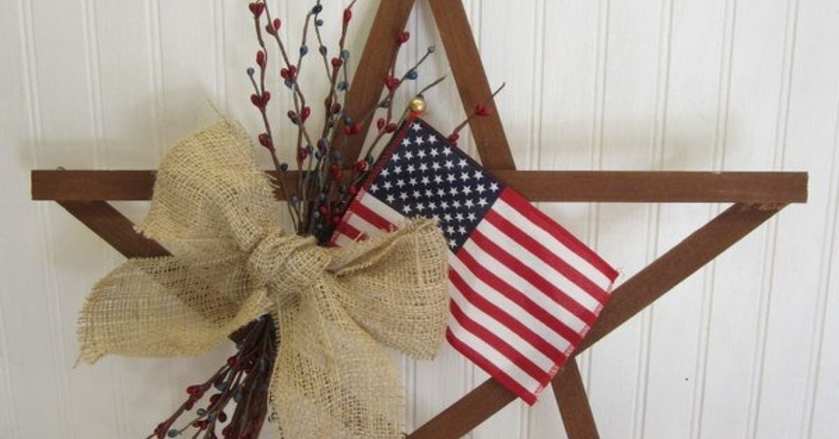 Patriotic July 4th Swood Star Wreath Alternative