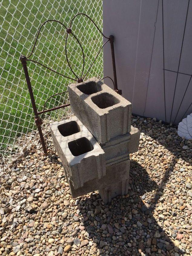 cinder block herb garden, container gardening, gardening, repurposing upcycling