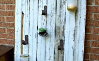 outdoor mason jar candle barn door, doors, how to, mason jars, outdoor living, repurposing upcycling