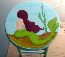 hand painted wooden stool, painted furniture, repurposing upcycling