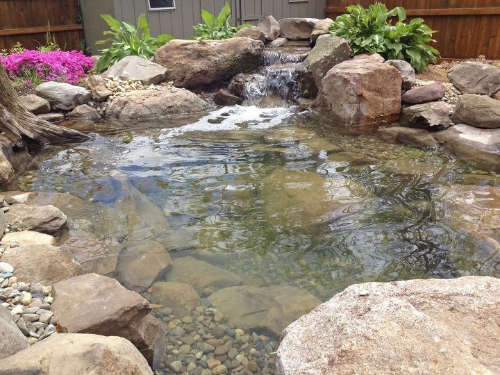 backyard fish pond installation, decks, landscape, ponds water features