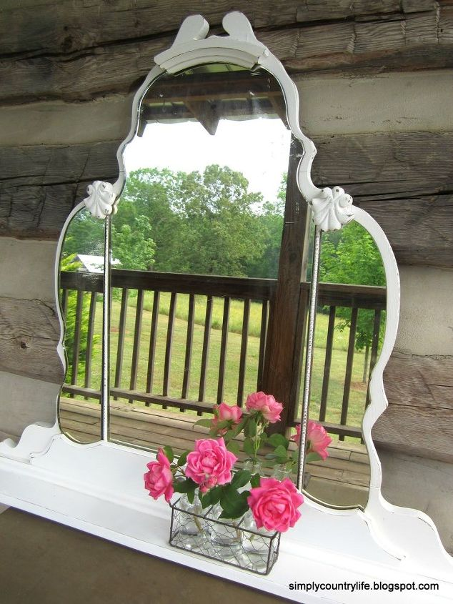 turning an antique vanity mirror into a wall shelf, repurposing upcycling,  shelving ideas, - Turning An Antique Vanity Mirror Into A Wall Shelf Hometalk