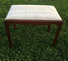 Quick Easy Upholstered Bench, Painted Furniture, Reupholster, BEFORE