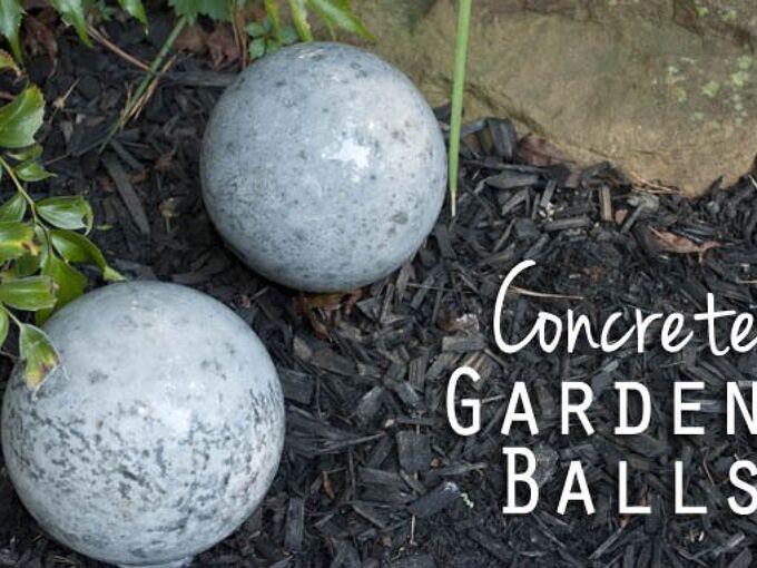 concrete garden balls, concrete masonry, gardening, how to