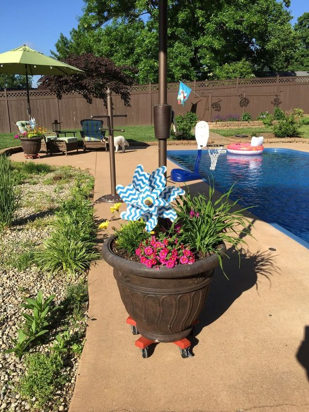umbrella planter, container gardening, gardening, outdoor living
