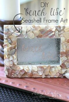 diy seashell frame art, crafts