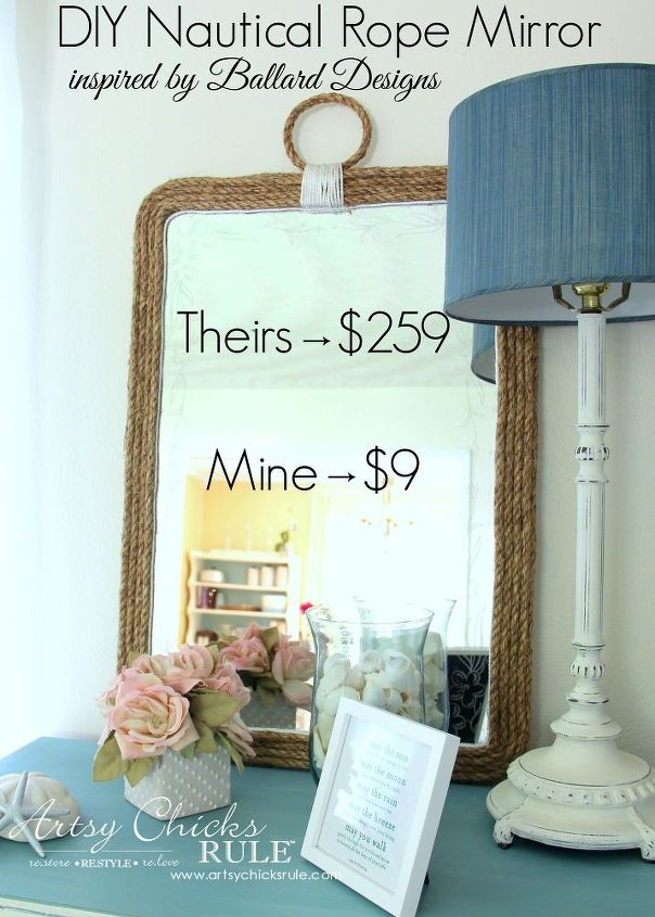 diy nautical rope mirror inspired by, crafts, home decor, repurposing upcycling