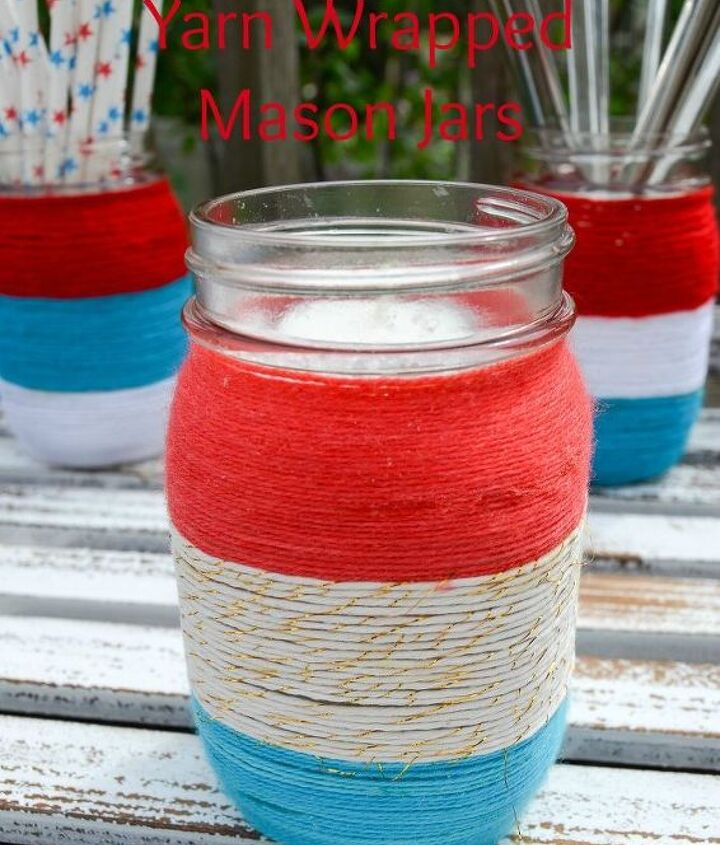 patriotic yarn wrapped mason jars, crafts, decoupage, how to, mason jars, patriotic decor ideas, repurposing upcycling, seasonal holiday decor