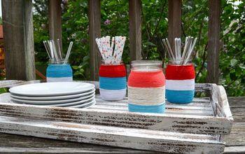 Patriotic Yarn Wrapped Mason Jars