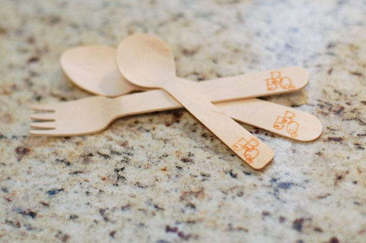 branded wooden silverware for the gold rush memorial day bbq, crafts, outdoor living, patriotic decor ideas, seasonal holiday decor
