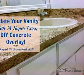 Super Easy Concrete Overlay Vanity Makeover, Bathroom Ideas, Concrete  Masonry, Concrete Countertops,