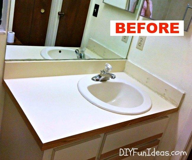 super easy concrete overlay vanity makeover, bathroom ideas, concrete masonry, concrete countertops, diy, how to