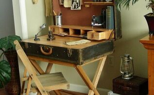 suitcase desk from a wardrobe trunk, diy, how to, painted furniture, repurposing upcycling, rustic furniture, woodworking projects