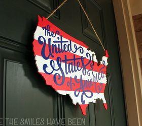 Patriotic Usa Map Wooden Door Hanger, Crafts, Patriotic Decor Ideas,  Seasonal Holiday Decor