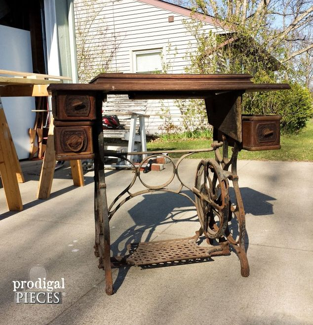 antique treadle sewing machine gets reclaimed farmhouse makeover, painted  furniture, repurposing upcycling, rustic - Antique Treadle Sewing Machine Gets Reclaimed Farmhouse Makeover