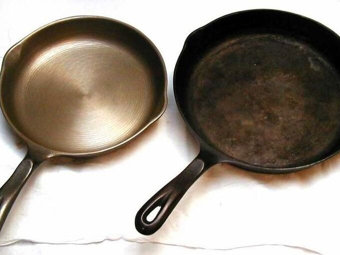 9 tips for caring for cast iron pans, cleaning tips, how to, Before and after Image via Fourthord