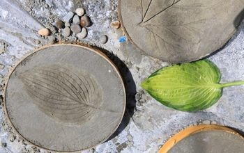 Leaf-Print Concrete Stepping Stones