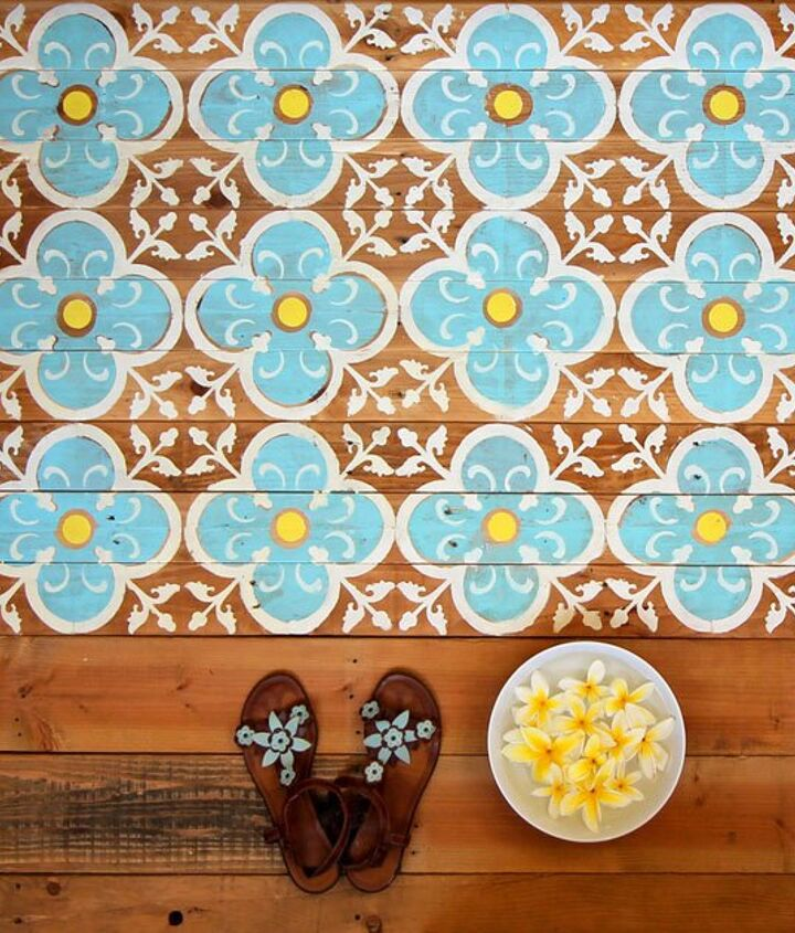 diy stenciled pallet wood floor doormat, flooring, how to, outdoor living, painting, pallet, repurposing upcycling