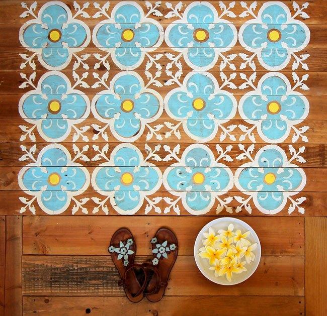 diy stenciled pallet wood floor doormat, flooring, how to, outdoor living, painting, pallet, repurposing upcycling