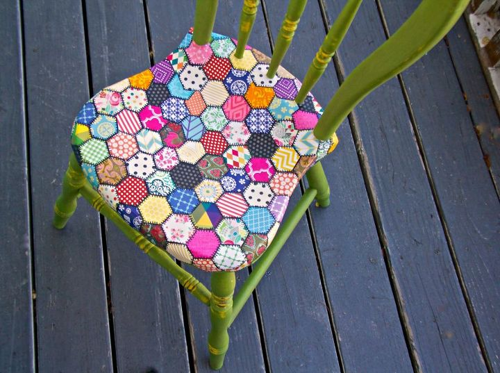 decoupaged chair quilt pattern, crafts, decoupage, painted furniture