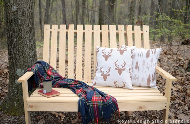 stencil how to make outdoor pillows from drop cloth, how to, outdoor furniture, outdoor living, painting, repurposing upcycling, rustic furniture, reupholster