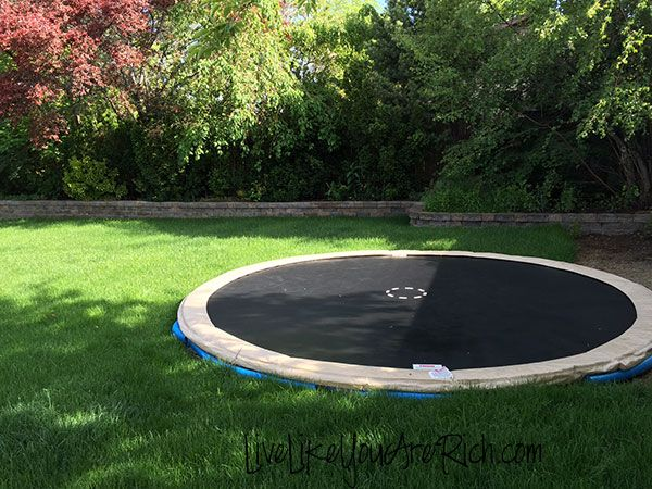 How to install an inground trampoline hometalk for How to put a trampoline in the ground