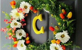 diy spring summer wreath with monogram tutorial, crafts, how to, wreaths