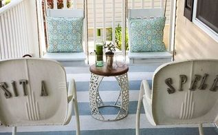 front porch makeover with repurposed chairs, concrete masonry, curb appeal, outdoor living, porches