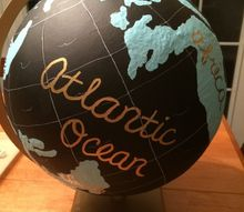repainted globe, chalkboard paint, crafts