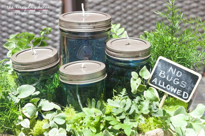 easy diy citronella mason jar candles and a summer centerpiece, crafts, how to, mason jars, outdoor living, repurposing upcycling