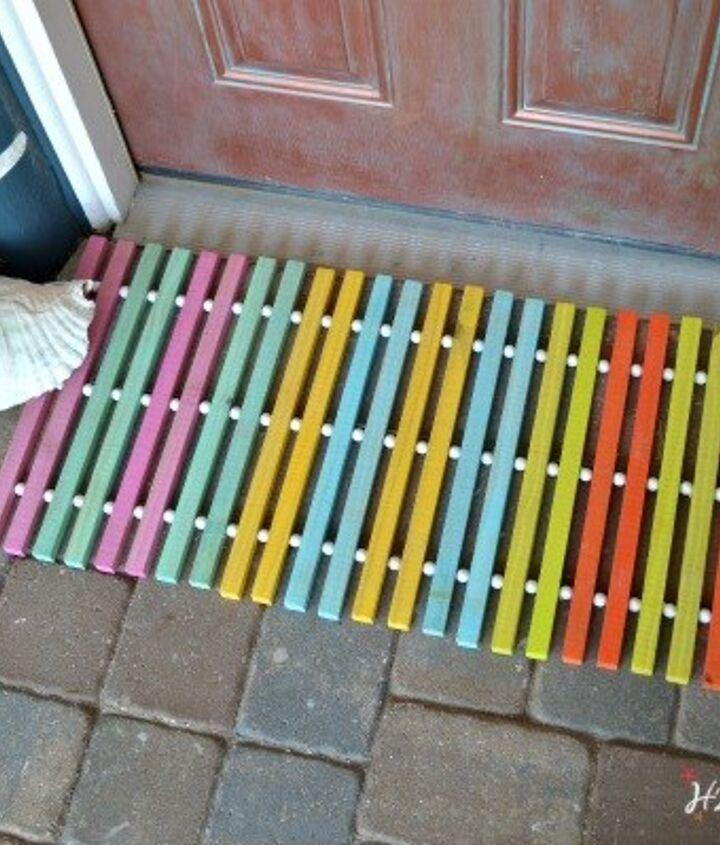 diy wood doormat, doors, how to, outdoor living