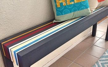 Painted Striped Entryway Bench