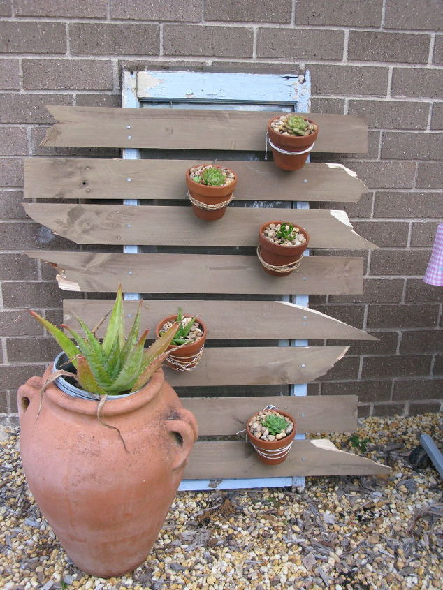 old fence palings and a rotten window frame to vertical garden, container gardening, fences, gardening, repurposing upcycling, windows
