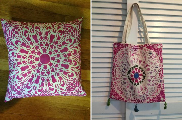 q crafty stencil pillow or tote bag, crafts, home decor