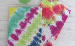 diy tie dyed dish towels, crafts, how to