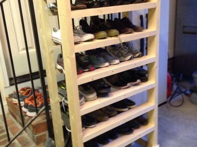 diy wood shoe rack, diy, organizing, shelving ideas, storage ideas, woodworking projects