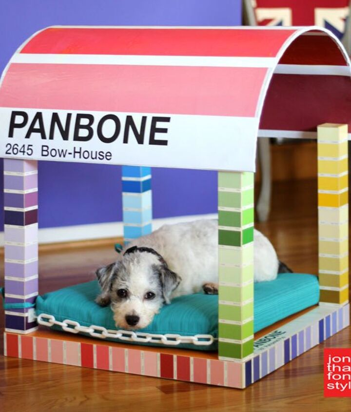paint chip dog bed from an ikea lack table, crafts, how to, painted furniture, pets animals, repurposing upcycling