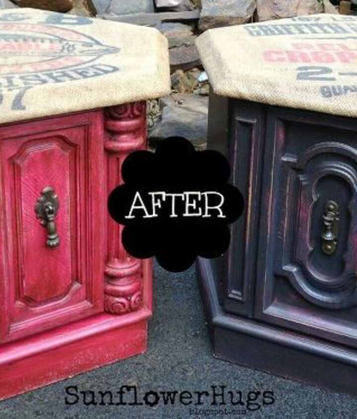 here s a new idea on how to use those printed burlap sacks, decoupage, painted furniture, repurposing upcycling
