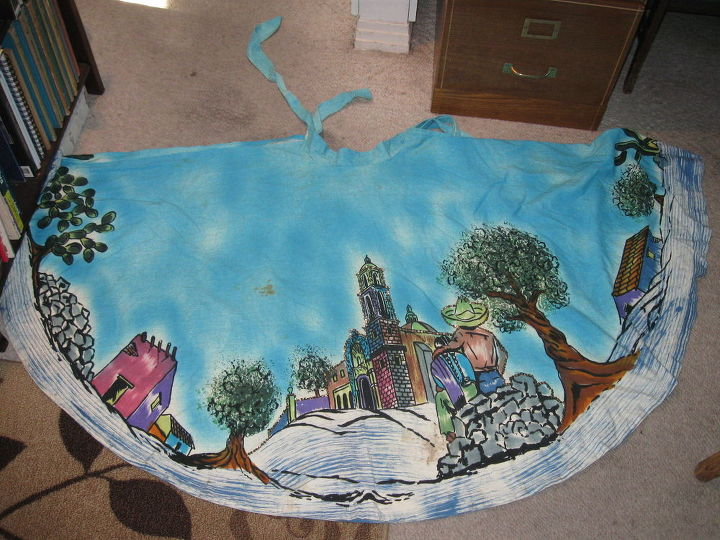 q how to remove old stains from vintage hand painted fabric, cleaning tips, repurposing upcycling, reupholster, Hand painted skirt front the back side is a repeat of the front Anyone know where this was made