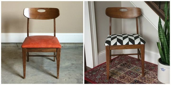 Midcentury Upholstered Chair Painted Furniture Reupholster