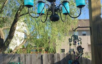 how to make an outdoor solar chandelier, how to, lighting, mason jars, repurposing upcycling