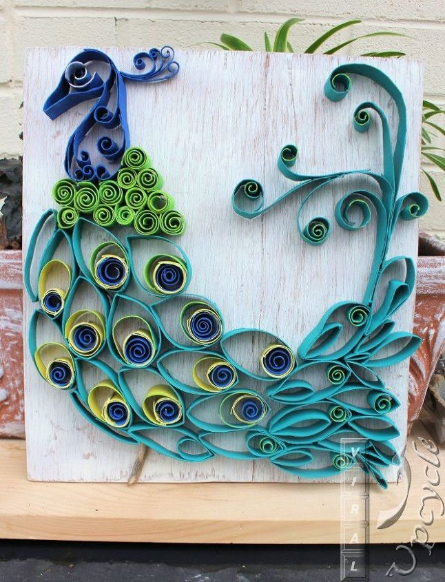 Paper towel roll art into bohemian rustic peacock hometalk for Paper roll arts and crafts