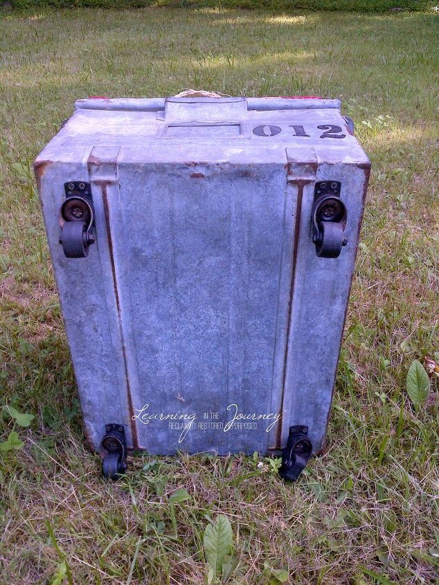 an industrial bin turned rustic ottoman, painted furniture, repurposing upcycling, rustic furniture, storage ideas