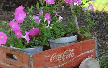 vintage coke crate wagon, container gardening, flowers, gardening, repurposing upcycling