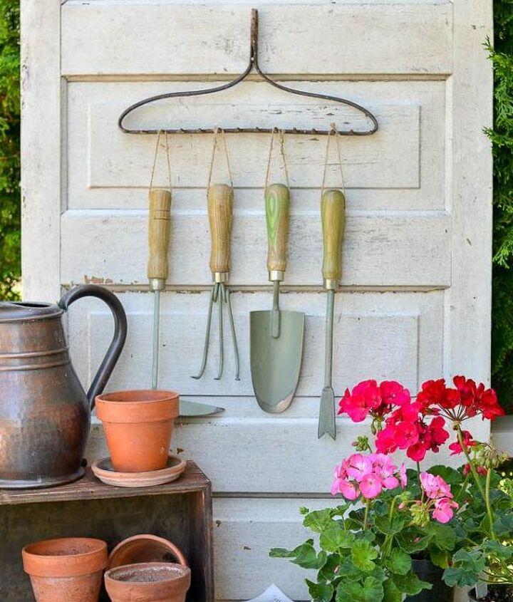using a repurposed rake to organize garden tools, gardening, organizing, repurposing upcycling, tools
