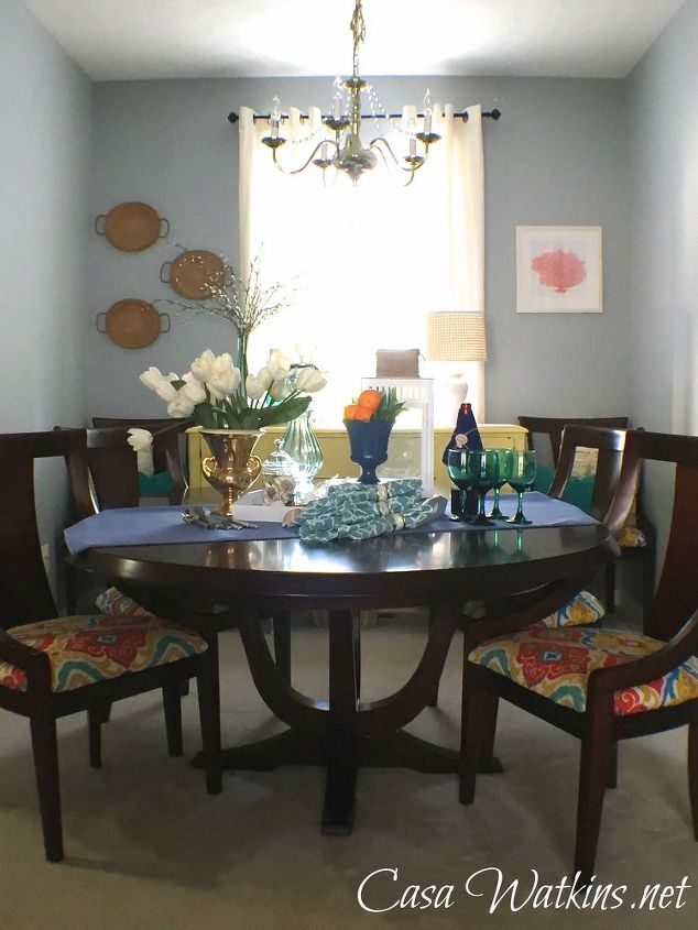 colorful coastal cottage dining room reveal, dining room ideas, painting, wall decor