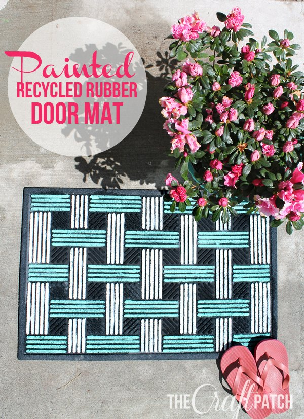 recycled rubber door mat makeover, doors, painting, porches