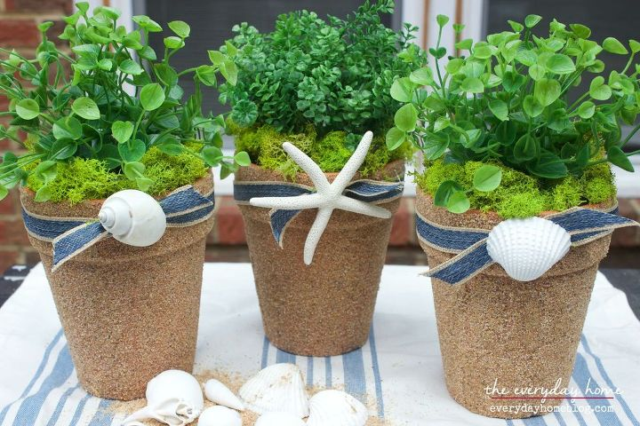 sand and seashell covered terra cotta pots, container gardening, crafts, gardening, home decor, how to